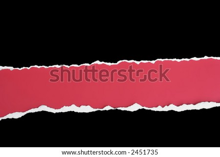 Black card wide torn out horizontal strip on a red background - stock photo