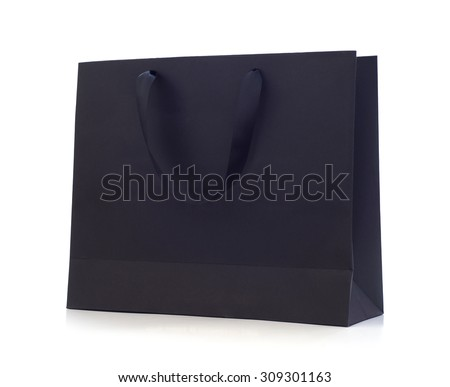 Black cardboard bag isolated on white background. - stock photo