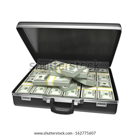 Black case with money - isolated on white background. 3d rendering - stock photo