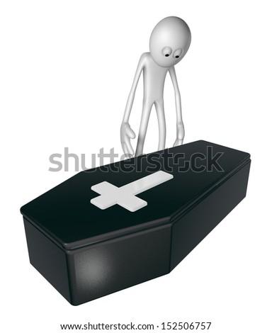 black casket whit christian cross and white guy - 3d illustration - stock photo