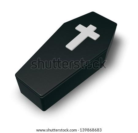 black casket whit christian cross - 3d illustration - stock photo
