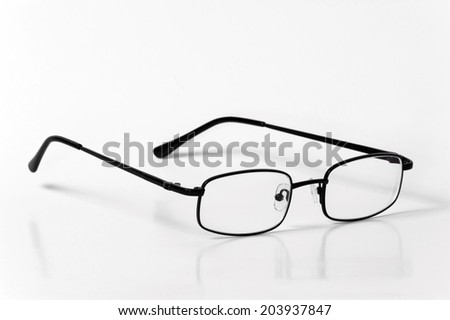 Black casual glasses isolated on white background - stock photo