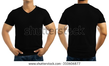 Black casual t-shirt on men's body isolated on white background, front and back. - stock photo