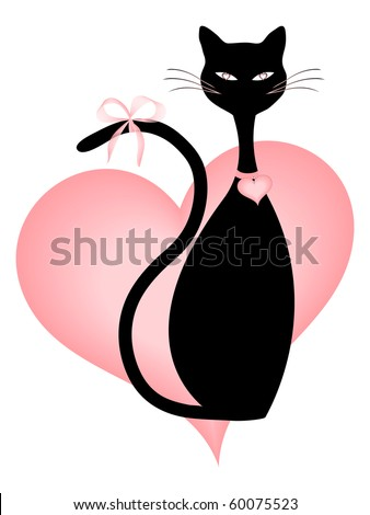 Black Cat and Pink Hearts. Also available in Vector format. - stock photo