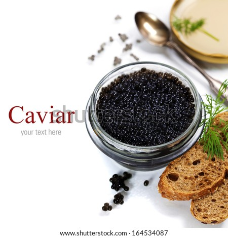Black caviar on white background (with easy removable sample text) - stock photo