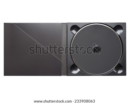 Black CD or DVD in digipack slim case isolated over white - stock photo