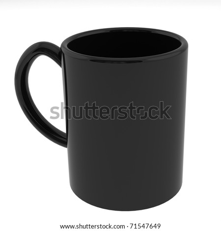 Black, ceramic coffee mug, semi gloss - stock photo