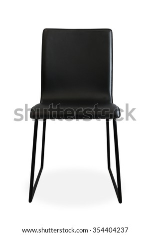 Black chair isolated. Black chair. Seat furniture. Modern chair. Simple style chair. Modern style chair. Chic furniture. Relax seat. Relax chair. Restaurant chair. Luxury chair. Clipping path chair. - stock photo
