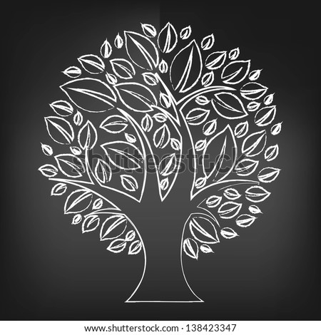 Black Chalk Board With Abstract Tree - stock photo