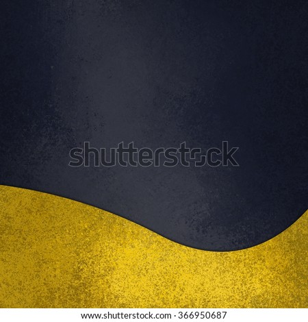 black chalkboard background with fancy elegant wavy gold design element on bottom border, abstract waved yellow decoration - stock photo