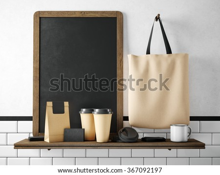 Black chalkboard on bookshelf with coffee set. 3d rendering - stock photo