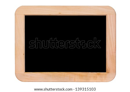 Black chalkboard with wooden frame - isolated - stock photo
