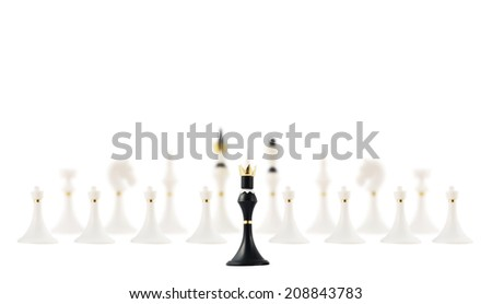 Black chess king figure opposite to the white ones composition isolated over white background - stock photo