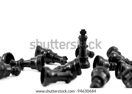 Black chess king, the most of strength isolated on white background - stock photo