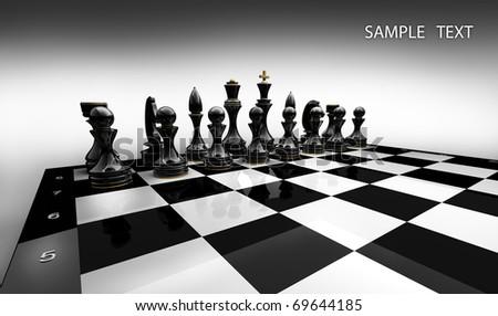 Black chess on white background 3d render - stock photo