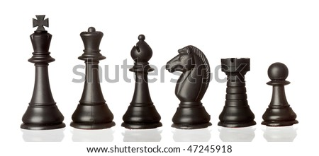 Black chess pieces in order of decreasing isolated on white background - stock photo