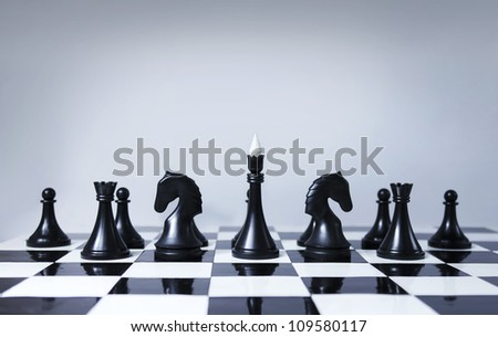 Black chess team - stock photo