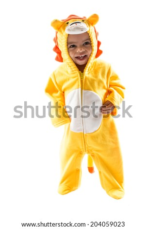 Black child boy,dressed in lion carnival suit, isolated on white background. Baby zodiac - sign Leo. The concept of childhood and holiday - stock photo
