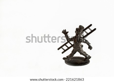 black chimney sweep figure with ladder  for good luck, isolated - stock photo