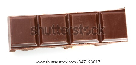 Black chocolate piece isolated on white background - stock photo