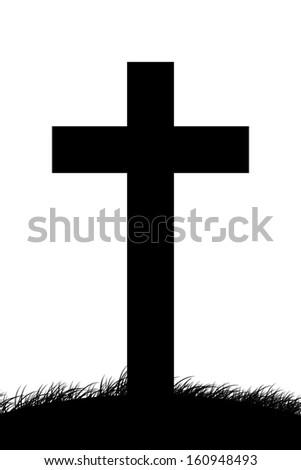 Black Christian Cross on White - stock photo
