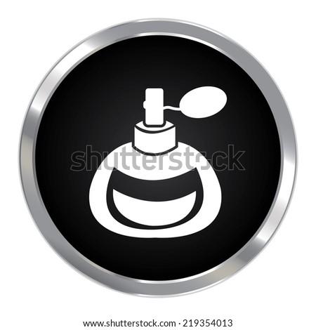 Black Circle Metallic Perfume or Fragrance Spray Icon or Button Isolated on White Background  - stock photo