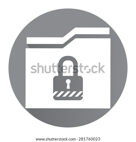Black Circle Secret Folder or Data Permission Security Long Shadow Style Icon, Label, Sticker, Sign or Banner Isolated on White Background - stock photo