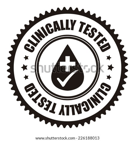 Black Clinically Tested Icon, Sticker, Badge or Label Isolated on White Background  - stock photo