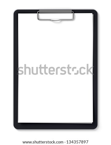 Black clipboard with blank sheets of paper isolated on white - stock photo