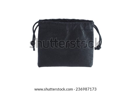 Black clothing bag isolated on white - stock photo