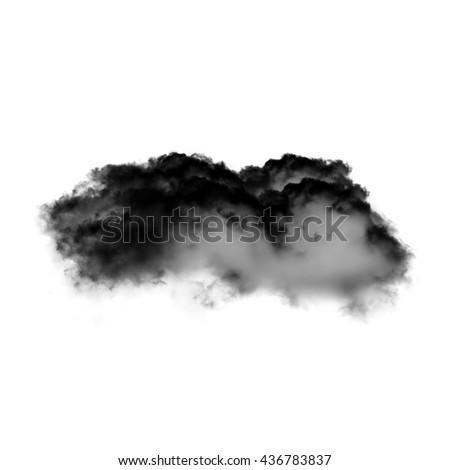 Black cloud isolated over white background, black inkblot or smoke - stock photo