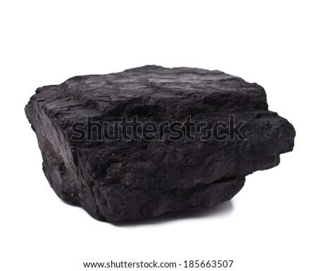 black coal isolated on white background  - stock photo