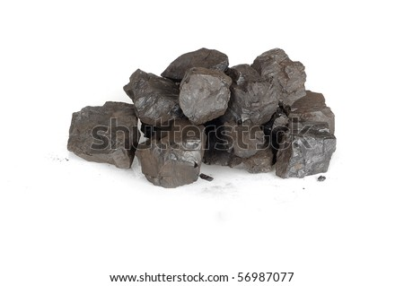 Black coals isolated on the white background - stock photo