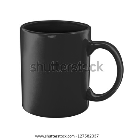 black coffee cup isolated with clipping path included - stock photo
