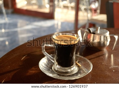 Black coffee in a cup, Ethiopia - stock photo