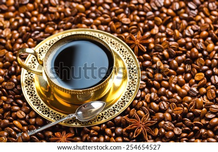 Black coffee in oriental style - stock photo