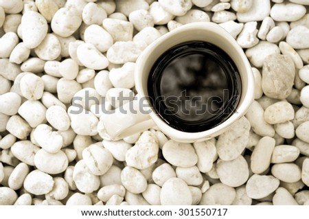 black coffee with vintage style - stock photo