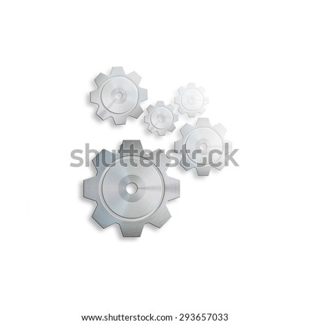 black cogs (gears) on white background - stock photo