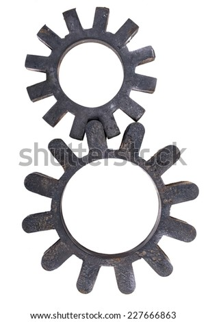 Black cogs isolated on white closeup photo - stock photo