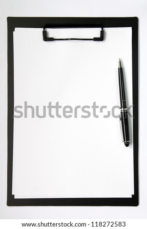 Black color clip board with blank paper and ball pen - stock photo