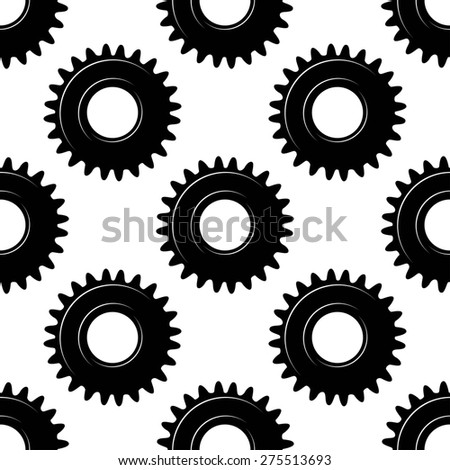 Black colored seamless pattern of toothed mechanical gears or cogwheels on white background in square format for industrial design - stock photo