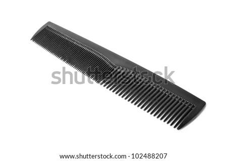 Black comb isolated on white background - stock photo
