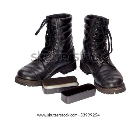 Black combat boots. Isolated on a white background - stock photo