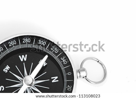 black Compass isolated on a whita background - stock photo