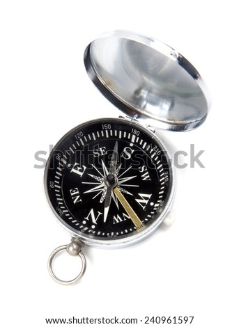 Black compass isolated on white background. - stock photo