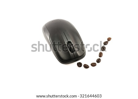 Black computer mouse isolated on white background - stock photo