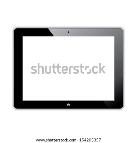 black computer tablet touchscreen. realistic illustration.(rasterized version) - stock photo