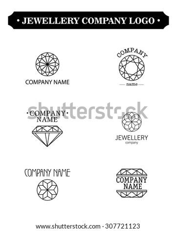 Black contour diamond logo set. Jewellery logo collection. Rhinestone company. - stock photo