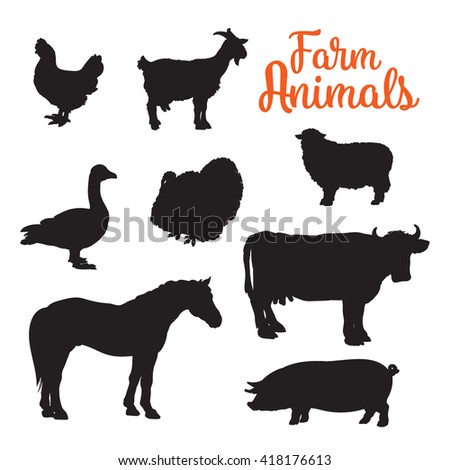 Black contours drenched farm animals, goose cow horse pig and goat kurischtsa turkey, animals isolated on white background set of different animals bird cattle, black logos and icons - stock photo