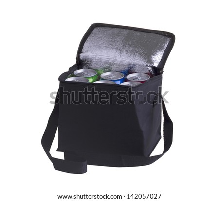 Black cooler bag filled with soft drink cans isolated on white background - stock photo